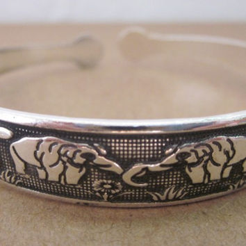 BR104 Thai Elephant Metal Tibetan Silver Color Bracelet vintage retro Cuff Bangle gift for her for him Free Shipping