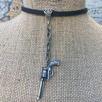 Necklace, Leather, Choker, Silver, Gun, Pistol, Woodland, Rustic, Chain, Western, Southern, Country, Cowgirl, Statement, Simple, Boho