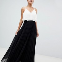 ASOS DESIGN crop top maxi dress in pleated colourblock at asos.com