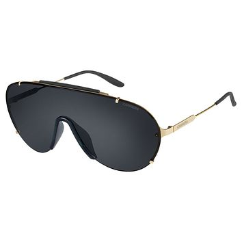 Carrera 129/S Gold Sunglasses, Gray Lenses