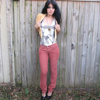 Vintage // Rare Grunge Levi's Corduroy Dusty Rose Jeans // Flared 1970's Hippie Gypsy Size 3 Low Rise