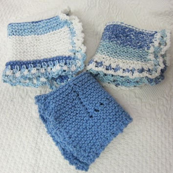 Knit Dishcloth/Washcloth/Dish Rag/Wash Rag Set of three Made with 100% Cotton Yarn in Blues and Whites Ready to ship