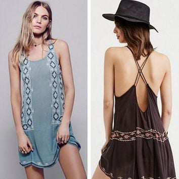 Free People Fashion Retro Geometric Embroidery Backless Bandage Sleeveless Mini Dress
