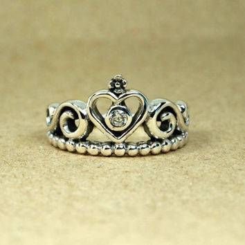 STERLING SILVER 925 Queen Crown Princess Ring - Crown Ring With Cubic Zirconia, Princess Ring, Crown Jewelry, Gift for Best Friends
