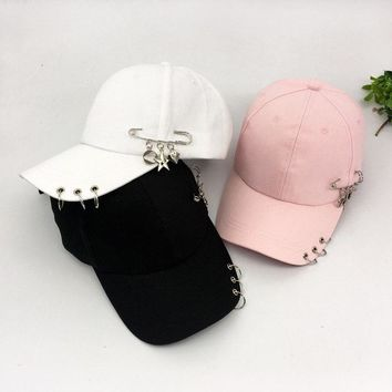 Trendy Winter Jacket Solid Summer Cotton Girls Casual Baseball Caps Metal Ring Hip Hop Snapback Hats For Sport Dance Rivets Casquette Gorras AT_92_12