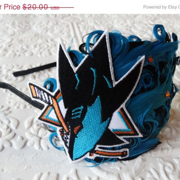 ON SALE San Jose Sharks - Sharks Headband - San Jose Sharks Christmas - Hockey Woman - Hockey Accessories - Logo Headband - Flapper Girl Hea