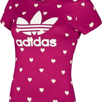 ADIDAS Women Fashion Print Loving Heart Sports casual T-shirt