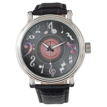 Music Notes Time Piece Wrist Watch