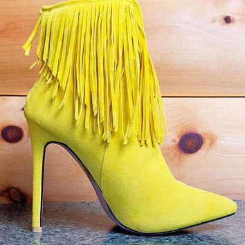 Alba Ricky Yellow FX Suede Pointy Toe Fringe Ankle Boot Stiletto Heel Sizes 8-10