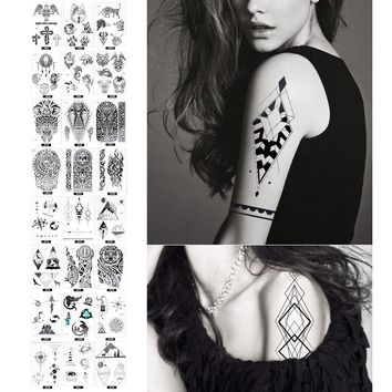 ATOMUS Temporary Tattoo Body Art Beauty Makeup Black Indian Sun Flower Henna pattern Waterproof Fake Tattoo
