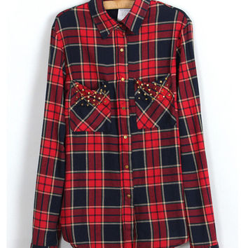 Rivet Plaid Double Pocket Long Sleeve Pointed Flat Collar Blouse