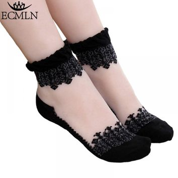Women Ruffle ship 1Pair Women's Sock Trim Lace Mesh Sheer drop Comfy Cotton Ankle Transparent Frill Silk Elastic Soft socks Knit