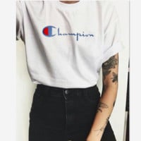 Champion Hot Sale Embroidery (4-color) Tee shirt top White
