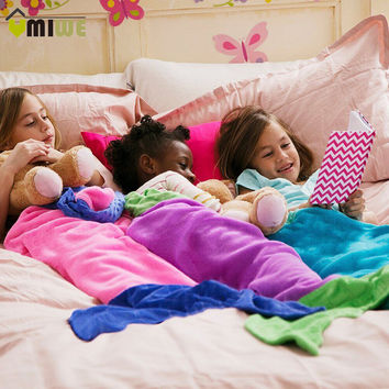 Umiwe Cute Dual Layer Fleece Mermaid Tail Blanket For Kids Camping Youth Fleece Sleeping Bag For 3-12 Years Old Boys And Girls