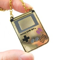 Classic Nintendo Game Boy Console Shaped Pendant Necklace | Handmade | redditgifts