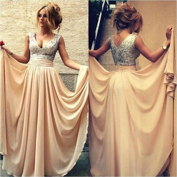 Champagne Sequin Prom Dresses For Wedding Party Dresses - Gold
