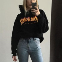 """""""Thrasher""""Men and women with the flame hooded couples sweater(Black-yellow letters) Black"""