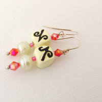 White Chocolate Truffle Dangle Earrings with freshwater pearls - Sterling Silver earwireswhite, pin, brown