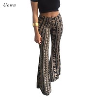 Women Bohemian Tribal Print Hippie Flare Pants