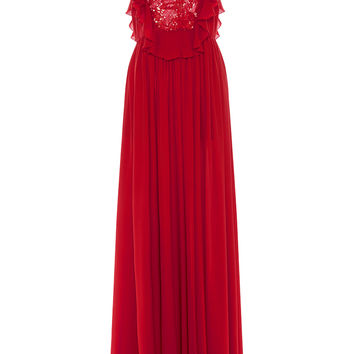 Embroidered Tulle and Silk Georgette Ruffle Gown | Moda Operandi