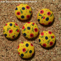 Vintage Floral Fabric Covered Button Magnets or Tacks - Vibrant Yellow, Red and Blue - set of 6