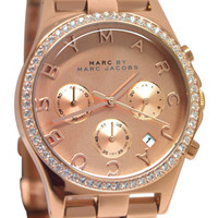 Marc Jacobs MBM3118 Henry Rose Gold Chrono Date Glitz Steel Band Women Watch NEW
