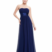 Prom Dresses Ever Pretty HE09955 Strapless Ruched Bust Blue Red Black Chiffon Long vestidos Evening Dresses