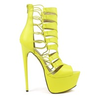 Fahrenheit Vicky-01 Strappy Chevron Stiletto Platform Pumps in Lime @ ippolitan.com