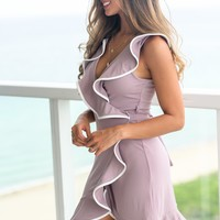 Misty Mauve Wrap Dress with Ruffle Detail