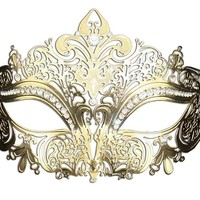 Luxury Mask Women's Laser Cut Metal Venetian Masquerade Crown Mask
