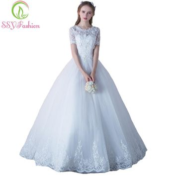 SSYFashion New Luxury Lace Wedding Dress Bride Married White Short Sleeves Appliques Beading A-line Elegant Long Wedding Gown