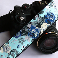 Floral Camera Strap with roses. dSLR Camera Strap. Blue Camera Strap. Women accessories