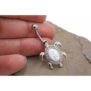 White Opal Silver Turtle Belly Button Ring