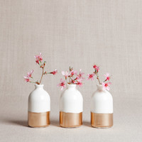 White + Gold Minimalist Bud Vases // Set of Three
