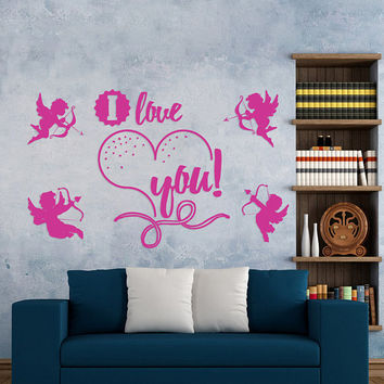"Happy Valentine's Day Wall Decal, ""I Love You"" Wall Sticker, Valentine's Angels Wall Decor, Love Day Angels Quote Wall Art Mural Decal se109"
