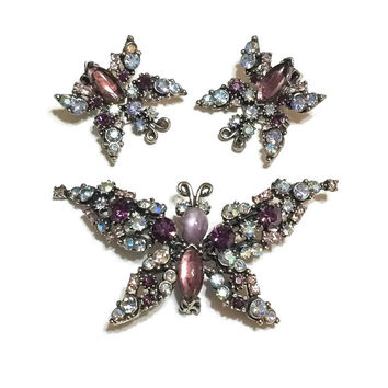 WINTER DISCOUNT TEN Stunning Trembler Rhinestone Butterfly Brooch and Matching Earrings, Amethyst and Blue, Florenza 1950s