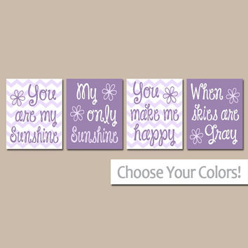 You Are My SUNSHINE Wall Art, Purple Lavender Sunshine Chevron CANVAS or Prints Nursery Rhyme, Baby Song Artwork Set of 4 Girl Bedroom Decor