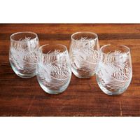 Peacock Stemless Wine Glasses - Set of 4