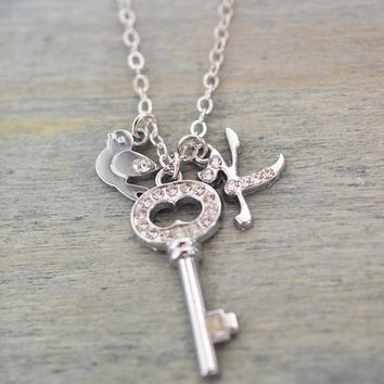 silver key necklace, personalized key jewelry, bird necklace, silver key charm, chrismas gift, giving key, graduation gift, best friend gift