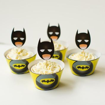 Batman Dark Knight gift Christmas Free Shipping batman cupcake wrappers toppers picks decorations for boys kids birthday party supplies comic superhero decoration AT_71_6