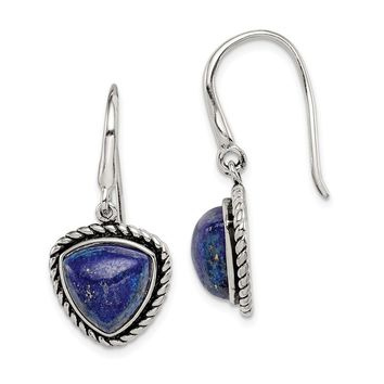925 Sterling Silver Polished/Antiqued Lapis Cabochon Shepherd Hook Earring