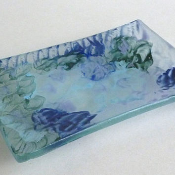 Blue and Green Reclaimed Glass Dish