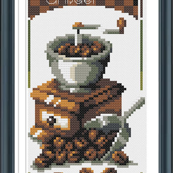 Coffee Grinder,PDF Cross Stitch Pattern Needlecraft ,Instant Download,Modern Chart
