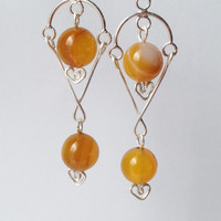Sterling Silver Yellow Chandelier Earrings with Dyed Striate Agate, Free Shipping anywhere in the USA