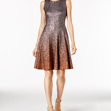 MSK Glitter Ombré Metallic Fit & Flare Dress - Dresses - Women - Macy's