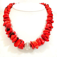 Red Coral Necklace - Organic Red Bamboo Coral - Chunky Nugget Statement Necklace - Tribal Silver Neck Wear - Red Beach Jewelry - Retro Coral