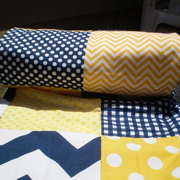 Baby blanket,patchwork baby blanket,baby crib bedding,boy nursery decor,girl blanket,navy blue, yellow,chevron,dots,gingham,waves,nautical
