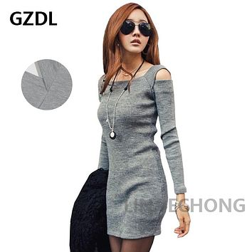 GZDL Casual Square Collar Women Long Sleeve Bodycon Sweater Knitted Dress Female Pullover Autumn Winter Dresses Vestidos CL1114