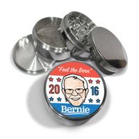"Feel the Bern 2016 Bernie Sanders 4 Piece Silver Aluminum or Zinc Metal Grinder 2.5"" For President Election Democrat Iowa Debate"