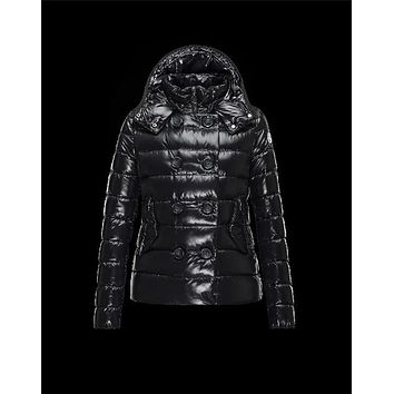 Moncler PLANE Double-Breasted Turtleneck Black Jackets Lacquered Nylon Womens 41382558